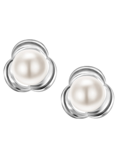 Flower Pearl Stud Earrings - White