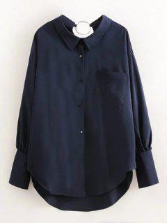 Chemise Agrémentée D'un Cercle Métallique Et D'une Poche - Bleu Violet L