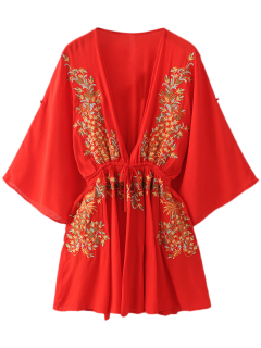 Bohemian Plunging Neck Embroidered Dress - Red M
