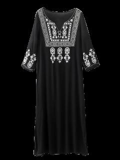 Robe Maxi Brodée à Incisions Latérales - Noir Xl
