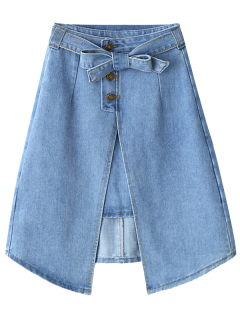 Bownot Front Slit Denim Skirt - Light Blue L