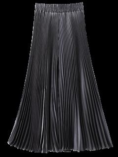 Pleated Capri Wide Leg Pants - Silver Grey