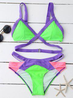 Ensemble Bikini à Bande Couleur En Bloc à Bretelles - Vert L