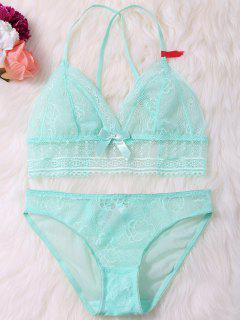 See Thru Lace Bra And Panty Lingeries Set - Green Xl