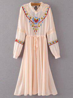 Belted Embroidered Long Sleeve Dress - Pink L