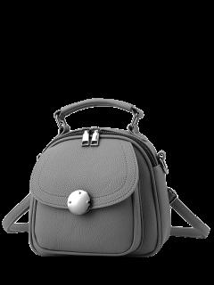 Metal Detail Cross Body Convertible Bag - Gray