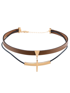 Artificial Leather Bar Layered Choker Necklace - Brown
