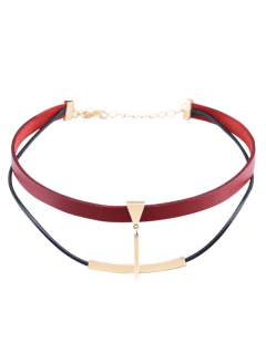 Artificial Leather Bar Layered Choker Necklace - Wine Red