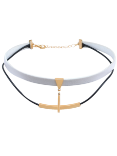Artificial Leather Bar Layered Choker Necklace - White