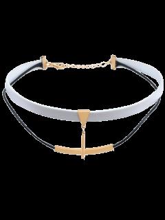 Artificial Leather Bar Collar Gargantilla Acodado - Blanco