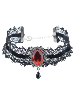 Artificial Gem Velvet Teardrop Choker Necklace - Wine Red