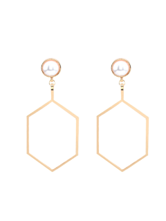 Faux Pearl Hexagon Earrings - Golden