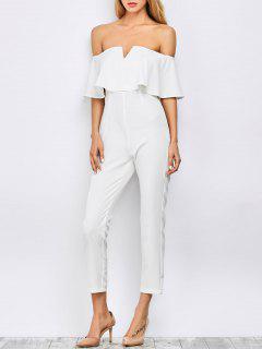 Ruffles Crêpe Bardot Jumpsuit - Blanc S