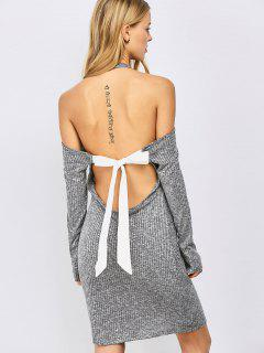 Knitting Bowknot Bodycon Dress - Gray S