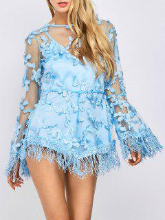 Fringed Floral Applique Sheer Romper - Light Blue S