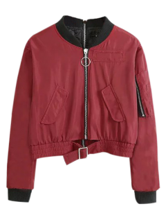 Double Zipper Bomber Jacket - Claret L