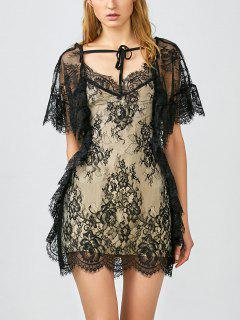 Flounced See-Through Lace Dress - Black S