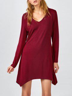 Hanky Hem Long Sleeve Dress - Burgundy S