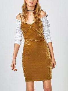 Strappy Velvet Bodycon Slip Dress - Yolk Yellow S