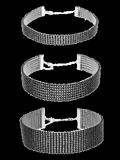 Rhinestoned Necklace Set - Black