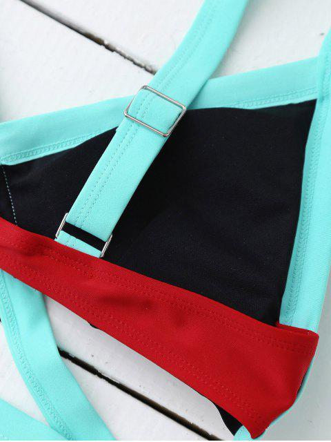 womens Strappy Color Block Banded Bikini Set - LAKE BLUE + BLACK L Mobile