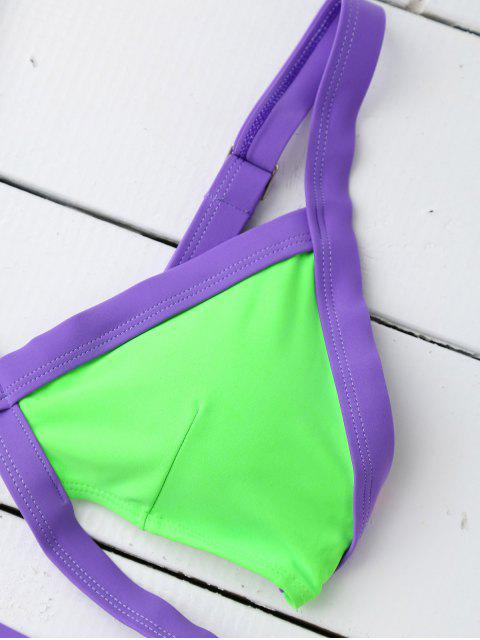best Strappy Color Block Banded Bikini Set - GREEN S Mobile