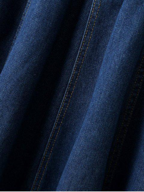 hot Suspender Denim Skirt - DEEP BLUE M Mobile