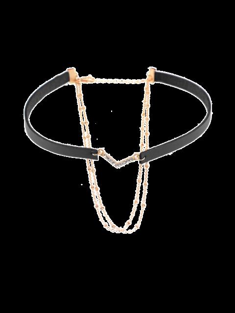 hot Faux Leather Rhinestone V-Shaped Choker Necklace - BLACK  Mobile