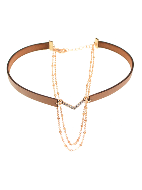latest Faux Leather Rhinestone V-Shaped Choker Necklace - BROWN  Mobile