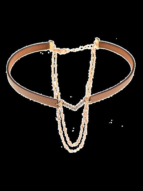 Colliers choker en faux cuir avec strass en V-forme - Brun  Mobile