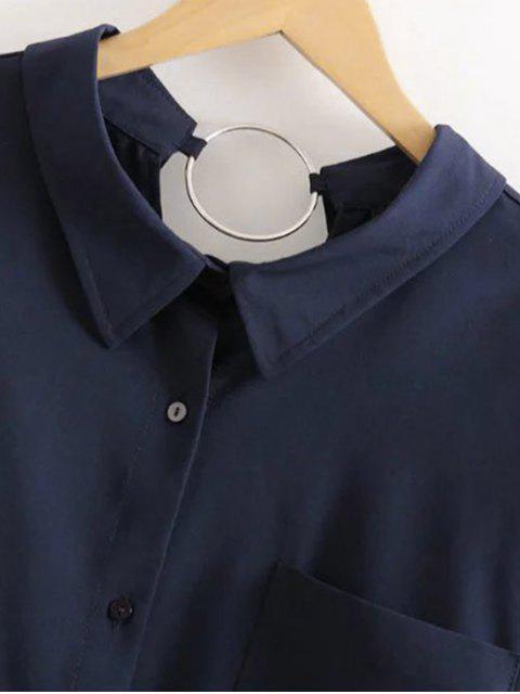 shop Boyfriend Metal Circle Pocket Shirt - PURPLISH BLUE S Mobile
