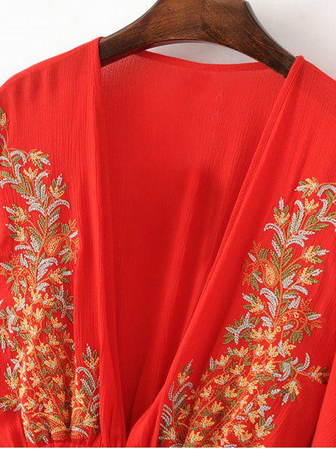 chic Bohemian Plunging Neck Embroidered Dress - RED L Mobile