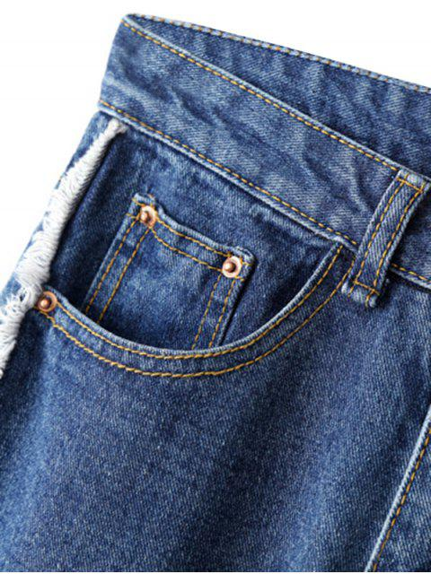 best Straight Cuffed Jeans - LIGHT BLUE S Mobile
