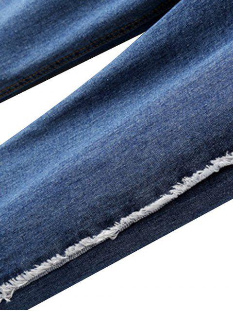 new Straight Cuffed Jeans - LIGHT BLUE L Mobile