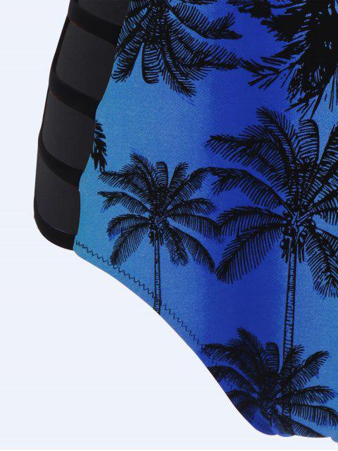 affordable Cut Out Coconut Palm Swimwear - BLUE M Mobile