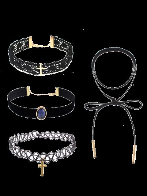 Crucifijo Gargantilla Collares de imitación de la gema del cordón - Negro  Mobile