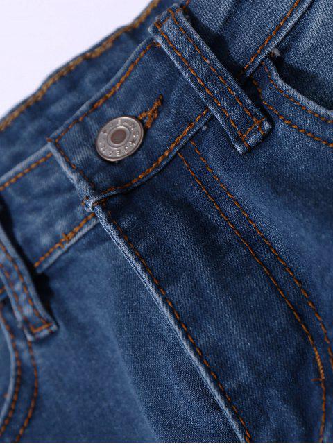best Distressed Asymmetric Hem Capri Jeans - DENIM BLUE L Mobile