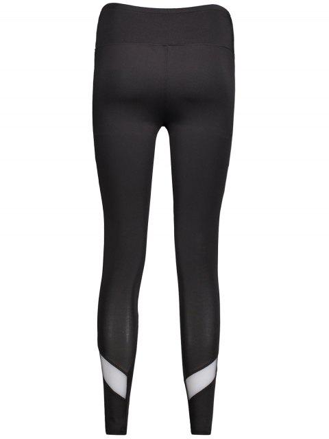 new Mesh Panel Skinny Sports Leggings - BLACK L Mobile