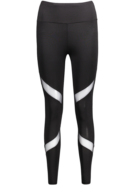 Mesh Panel Skinny Sport Leggings - Schwarz L Mobile