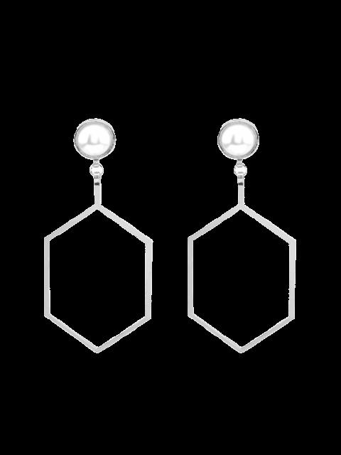 Pendientes del hexágono de la perla de Faux - Plata  Mobile