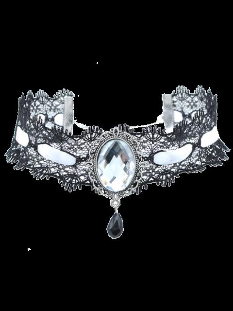 Gem artificial terciopelo del collar del ahogador de la lágrima - Blanco  Mobile