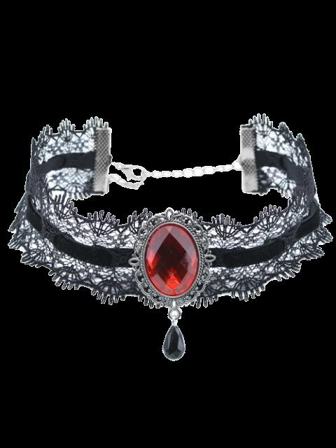 Artificial Gem Velvet Teardrop Halskette - Weinrot  Mobile