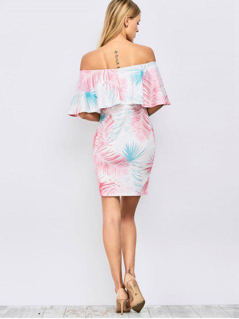 unique Off Shoulder Printed Bodycon Dress - FLORAL S Mobile