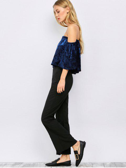 women Off The Shoulder Velvet Blouse - BLUE M Mobile