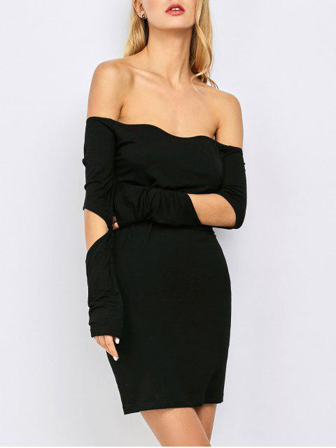 shops Bodycon Off The Shoulder Long Sleeve Party Dress - BLACK S Mobile
