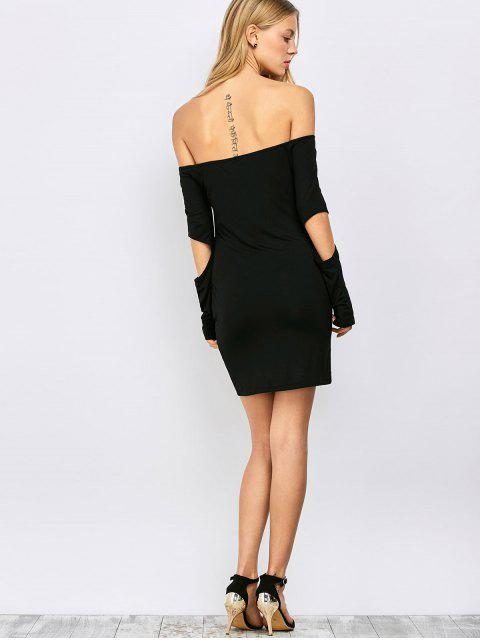 outfits Bodycon Off The Shoulder Long Sleeve Party Dress - BLACK L Mobile