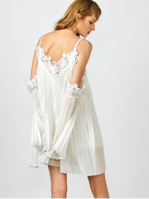 shops Lacework Pleated Cami Dress - WHITE M Mobile