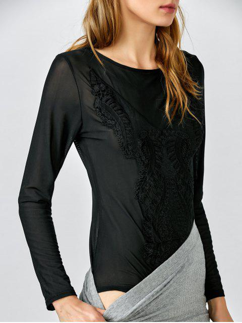 lady Embroidered See Through Bodysuit - BLACK XL Mobile