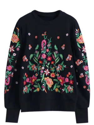 Floral De Gran Tamaño Bordó La Camiseta - Negro L