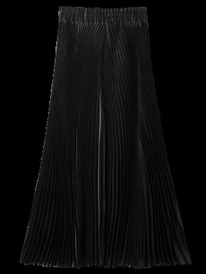 Pleated Capri Wide Leg Pants - Black